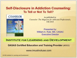 Self-Disclosure in Addiction Counseling: To Tell or Not to Tell? 3.0