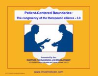 Patient-centered boundaries: The congruency of the therapeutic alliance 3.0